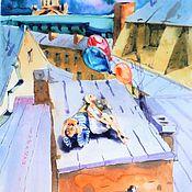"""Картины и панно ручной работы. Ярмарка Мастеров - ручная работа """"Мечты о будущем"""" 2 Акварель из серии """"Питерские крыши"""". Handmade."""