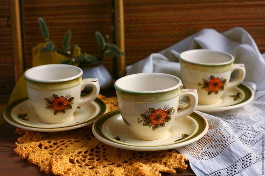 Винтажная посуда. Ярмарка Мастеров - ручная работа. Купить Три кофейных пары Конаково. Handmade. Комбинированный, пара, нежная