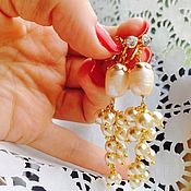 Украшения handmade. Livemaster - original item Clip earrings Golden bunches. Handmade.