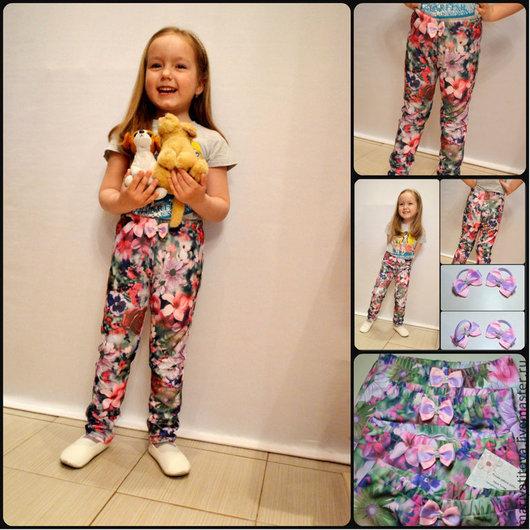 """Одежда для девочек, ручной работы. Ярмарка Мастеров - ручная работа. Купить Легинсы  """"цветочные"""". Handmade. Разноцветный, лосины для девочки, подарок"""
