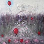 Картины и панно ручной работы. Ярмарка Мастеров - ручная работа Отпускающая красный шарик. Handmade.