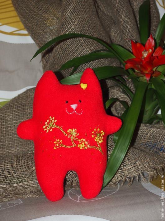 """Игрушки животные, ручной работы. Ярмарка Мастеров - ручная работа. Купить Кот """"Хорошие новости"""". Handmade. Ярко-красный, игрушка"""