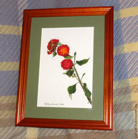 Картины цветов ручной работы. Ярмарка Мастеров - ручная работа. Купить Постер картины акварелью Турецкий цветочек, зеленый малиновый. Handmade.