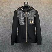 Мужская одежда handmade. Livemaster - original item Men`s outerwear: light jacket made of calf leather and thick fabric.. Handmade.