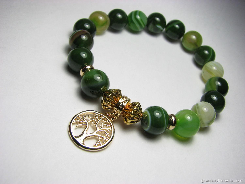 Green agate bracelet 'gold tree', Bead bracelet, Moscow,  Фото №1