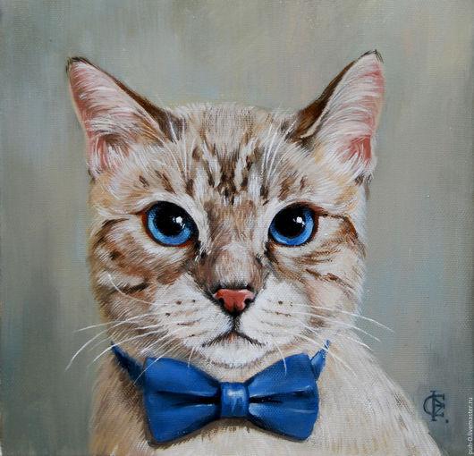 Животные ручной работы. Ярмарка Мастеров - ручная работа. Купить кот в бабочке. Handmade. Оливковый, кот, портрет маслом