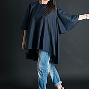 Одежда handmade. Livemaster - original item Dark blue cotton blouse - TP0093CT. Handmade.