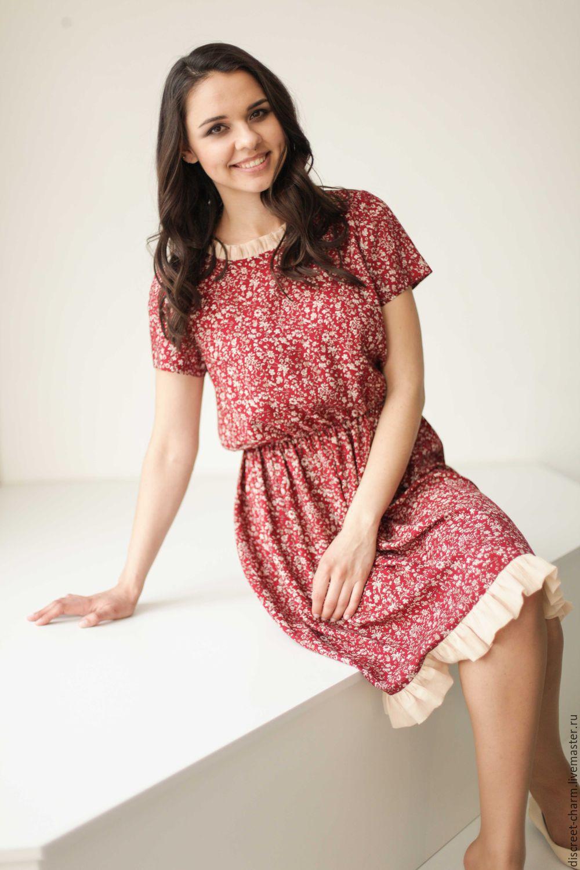 eca3e84fef3 Бордовое летнее платье в мелкий цветочек. Платья ручной работы. Ярмарка  Мастеров - ручная работа. Купить