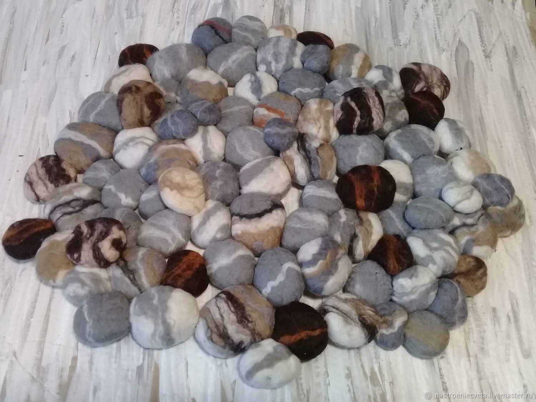 Текстиль, ковры ручной работы. Ярмарка Мастеров - ручная работа. Купить Коврик из камешков. Handmade. Серый, Камни из шерсти