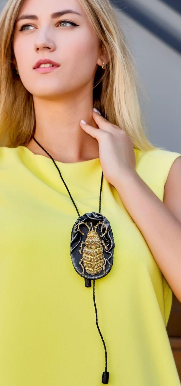 Bolo tie GOLDEN BEETLE (Leather, embroidery with rhinestones, Beads,), Pendants, Kaluga,  Фото №1