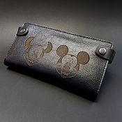 Wallets handmade. Livemaster - original item Vertical Purse. Longer. MICKY. black genuine leather. Handmade.