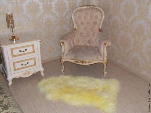 Текстиль, ковры ручной работы. Ярмарка Мастеров - ручная работа. Купить Шкура овечья желтая 100х60. Handmade. Лимонный