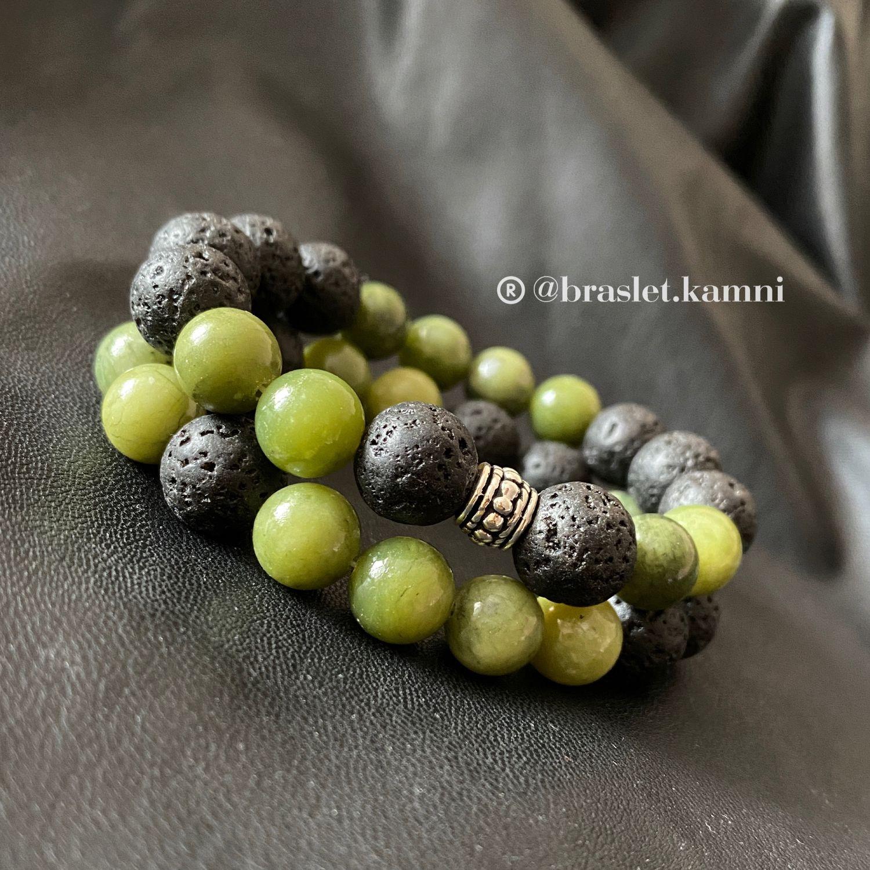 Двойной браслет из натуральных камней. НЕФРИТ и ЛАВА, Браслет из бусин, Краснодар,  Фото №1