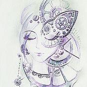 Картины и панно ручной работы. Ярмарка Мастеров - ручная работа Единение со временем. Кибер art, авторский акварельный принт. Handmade.