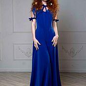 Одежда ручной работы. Ярмарка Мастеров - ручная работа Шикарное синее платье в пол. Handmade.