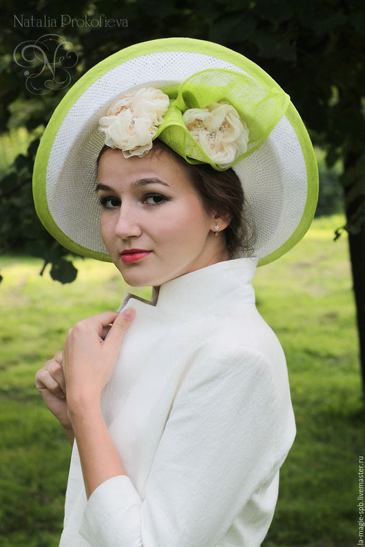 "Шляпы ручной работы. Ярмарка Мастеров - ручная работа. Купить Эксклюзивная шляпа ""Couleur Lime"" (Цвет лайма). Handmade. Белый"