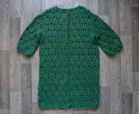 Кофты и свитера ручной работы. Ярмарка Мастеров - ручная работа. Купить Пальто летнее зеленое. Handmade. Зеленый, модный кардиган