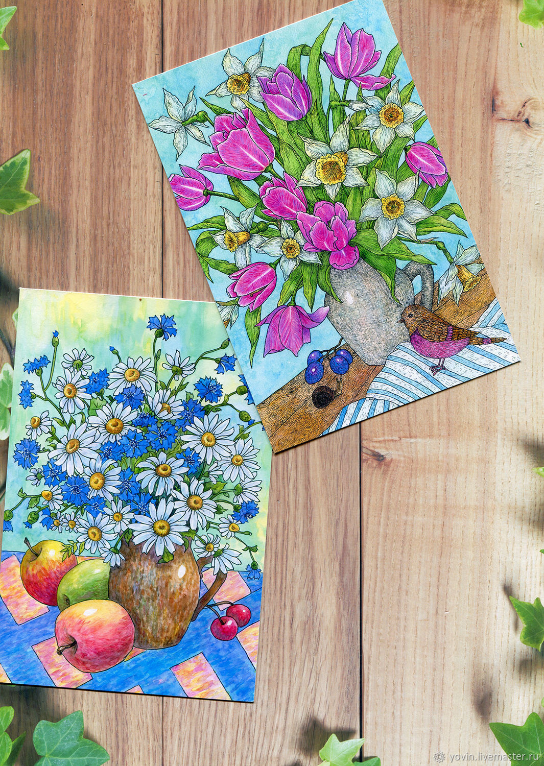 A Set Of Greeting Cards With Flowers For Postcrossing 10 Pieces
