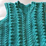 Работы для детей, handmade. Livemaster - original item Vest knitted tank top wool Turquoise for boy girl autumn. Handmade.