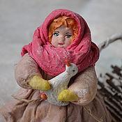 Подарки к праздникам ручной работы. Ярмарка Мастеров - ручная работа Ватная елочная игрушка ВАРЮША С ГУСЕМ. Handmade.
