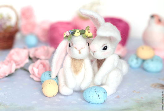 Игрушки животные, ручной работы. Ярмарка Мастеров - ручная работа. Купить Пасхальные зайчата. Handmade. Белый, Пасха, Пасхальный кролик