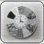 """Для дома и интерьера ручной работы. Ярмарка Мастеров - ручная работа Часы большие """"Черно-белый шик"""". Handmade."""