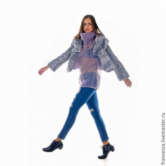 Вязаный крючком жакет пальто из мериносовой шерсти giant knit. Дизайнерская одежда ручной работы. Cashmere Francesca