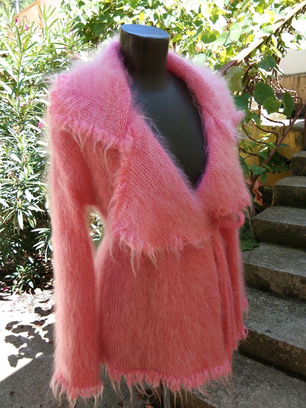 """Кардиганы ручной работы. Ярмарка Мастеров - ручная работа. Купить Кардиган """"Розовый фламинго"""" Вязаный из мохера.  Ручная работа. Handmade."""