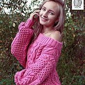 Одежда handmade. Livemaster - original item Voluminous wool sweater with braids and arans. Handmade.