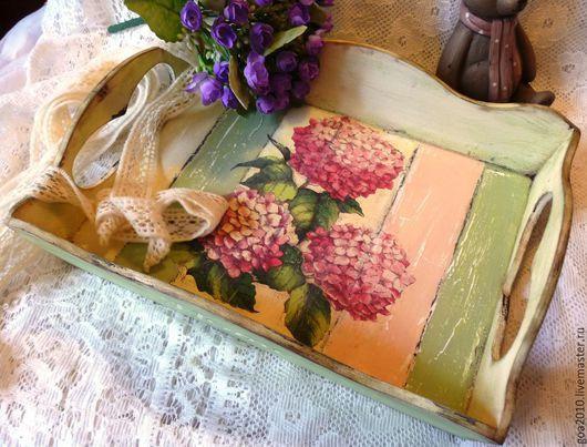"""Кухня ручной работы. Ярмарка Мастеров - ручная работа. Купить """"Романтичное утро"""" поднос. Handmade. Разноцветный, подносы"""