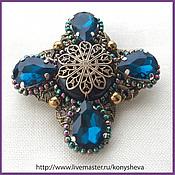 Украшения handmade. Livemaster - original item Montana blue. Brooch in the shape of a cross. Handmade.
