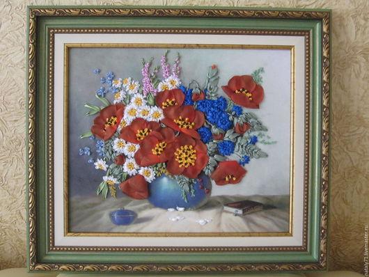 Картины цветов ручной работы. Ярмарка Мастеров - ручная работа. Купить Картина Лето. Handmade. Ярко-красный, васильки