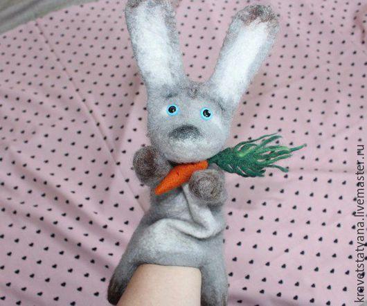 Кукольный театр ручной работы. Ярмарка Мастеров - ручная работа. Купить Бибабо игрушка Зайчик серенький Театральная кукла перчатка из шерсти:). Handmade.