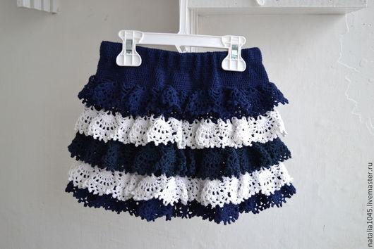 Одежда для девочек, ручной работы. Ярмарка Мастеров - ручная работа. Купить Юбка вязаная для девочки. Handmade. Тёмно-синий, полоски