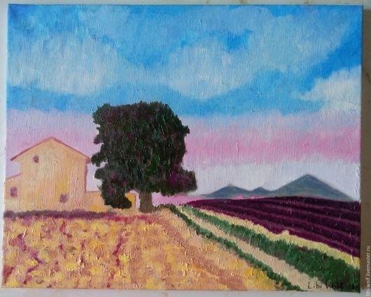 """Пейзаж ручной работы. Ярмарка Мастеров - ручная работа. Купить Картина """"Лавандовые поля"""". Handmade. Тёмно-фиолетовый, лавандовое поле"""