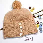 Аксессуары handmade. Livemaster - original item Knitted hat with a crocheted bezel made from rovings. Handmade.