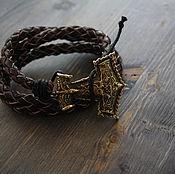 Украшения handmade. Livemaster - original item leather bracelet with Thor`s hammer bracelet Viking. Handmade.