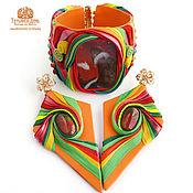 Украшения handmade. Livemaster - original item Bracelet and earrings made of leather