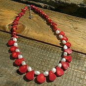 #59 Ожерелье из красного коралла и натурального жемчуга