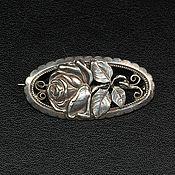Винтаж ручной работы. Ярмарка Мастеров - ручная работа Старинная брошь с розой в овале. Handmade.