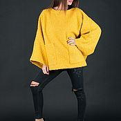 Одежда handmade. Livemaster - original item Yellow winter wool poncho-PN0424WB. Handmade.