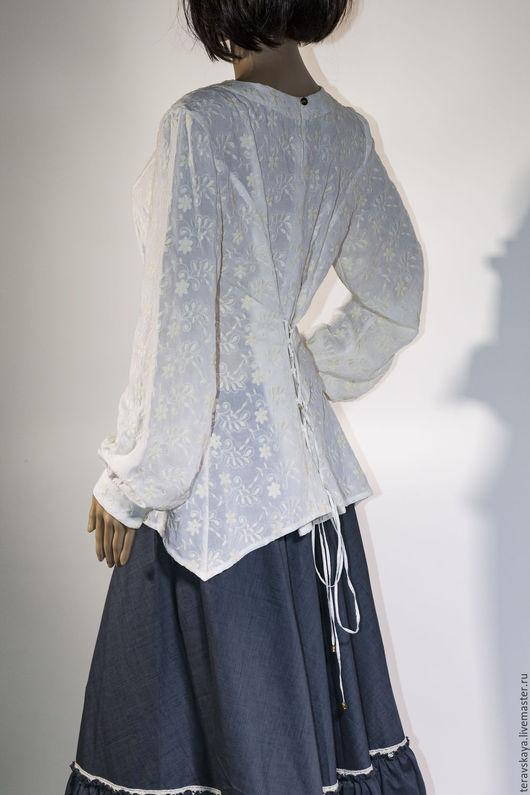Блузки ручной работы. Ярмарка Мастеров - ручная работа. Купить Блуза Provence с вышивкой и шнуровкой сзади. Handmade. Рисунок