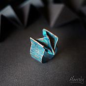 """Украшения ручной работы. Ярмарка Мастеров - ручная работа Медное кольцо """"Оригами"""", патинированная медь, украшение. Handmade."""