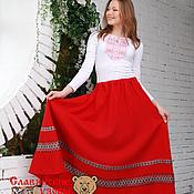 Одежда ручной работы. Ярмарка Мастеров - ручная работа Юбка красная с орнаментом. Handmade.