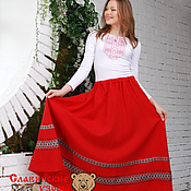 Одежда handmade. Livemaster - original item Red skirt with ornament. Handmade.