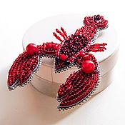 Украшения handmade. Livemaster - original item Cancer brooch with red beads. Handmade.