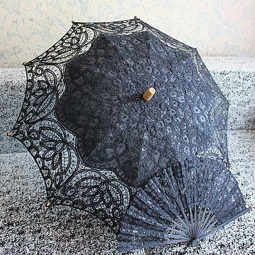 Аксессуары ручной работы. Ярмарка Мастеров - ручная работа Кружевной зонт №18 Черный. Handmade.