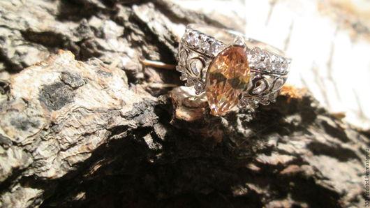 Кольца ручной работы. Ярмарка Мастеров - ручная работа. Купить кольцо 16.5 Морганит. Handmade. Бежевый, кольцо с камнями