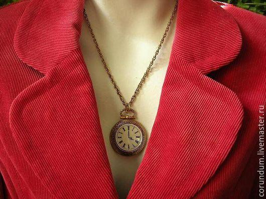 """Винтажные украшения. Ярмарка Мастеров - ручная работа. Купить Винтажная подвеска  """"Часы"""", винтаж ART,винтаж 60-х,винтаж США. Handmade."""