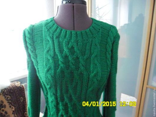 """Платья ручной работы. Ярмарка Мастеров - ручная работа. Купить Платье """"Зеленые косички"""". Handmade. Зеленый, вязание спицами"""
